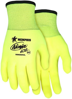 Memphis Ninja Ice Glove Coated Over the Knuckle & Reflective Palm anf Fingertips-15-Gauge-XXLarge