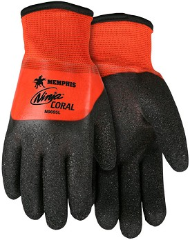 Memphis Ninja CORAL Glove Coated Over the Knuckle Over PVC Full Dip-13-Gauge-Large