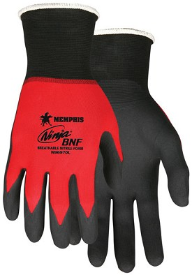 Memphis Ninja BNF Glove Coated Palm & Reflective Fingertips-21-Gauge-Medium