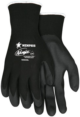 Memphis Ninja HPT Glove Coated Palm & Reflective Fingertips-15-Gauge-Medium