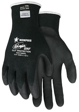 Memphis Ninja BNF Stretch Armor Tech Black Coated Glove-21 Gauge-Large