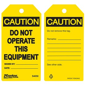 Master Lock Yellow Caution Do Not Operate This Equipment Tag - 36 pk.