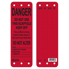 Master Lock Red Danger Do Not Use This Scaffold Tag - 50 pk.