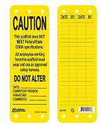 Master Lock Yellow This Scaffold Does NOT Meet Federal/State OSHA Specifications Tag - 50 pk.