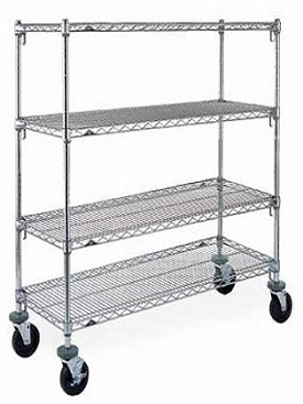 "Metro 24 x 48"" Super Adjustable Super Erecta Stem Caster Cart-4 Shelf"