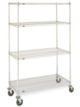 "Metro 24 x 48"" Super Erecta Stem Caster Cart-4 Shelf-Rubber Caster"