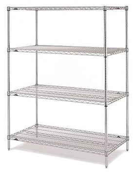 "Metro 24 x 60"" Super Erecta Shelving Starter-4 Shelf-Chrome"