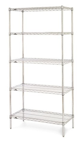 "Metro 18 x 72"" Super Erecta Shelving Starter-5 Shelf-Chrome"