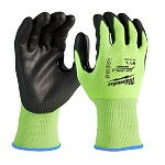 Milwaukee High Visibility Cut Level 2 Polyurethane Dipped Safety Gloves Size XL
