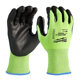 Milwaukee High Visibility Cut Level 2 Polyurethane Dipped Safety Gloves Size S