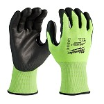 Milwaukee High Visibility Cut Level 3 Polyurethane Dipped Safety Gloves Size L - 12 pk.