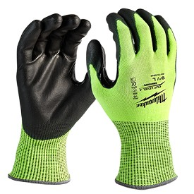 Milwaukee High Visibility Cut Level 4 Polyurethane Dipped Safety Gloves Size XL