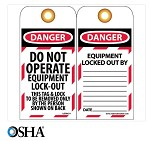 NMC Danger Do Not Operate Equipment Lock-Out English Lockout Tag - 25 pk.