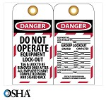 NMC Danger Do Not Operate Equipment Lock-Out English Lockout Tag - 10 pk.