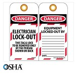 NMC Danger Electrician Lock-Out English Lockout Tag - 10 pk.
