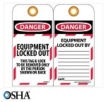 NMC Danger Equipment Locked Out English Lockout Tag - 25 pk.