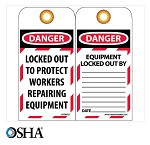 NMC Danger Locked Out to Protect Workers Repairing Equipment English Lockout Tag - 10 pk.