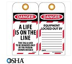 NMC Danger A Life Is On The Line English Lockout Tag - 10 pk.