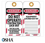 NMC Danger Do Not Operate Contractor Lock-Out English Lockout Tag - 10 pk.