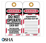 NMC Danger Do Not Operate Maintenance Lock-Out English Lockout Tag - 10 pk.