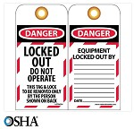 NMC Danger Equipment Locked Out English Lockout Tag - 10 pk.