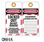 NMC Danger Locked Out Do Not Remove English Lockout Tag - 10 pk.
