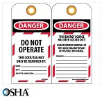 NMC Danger Do Not Operate Maintenance Lock-Out English Lockout Tag - 25 pk.