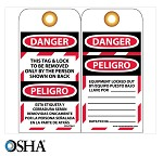 NMC Danger This Tag & Lock to Be Removed Only By... English & Spanish Lockout Tag - 10 pk.