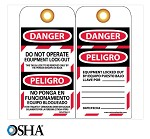 NMC Danger Do Not Operate Equipment Lock-Out English & Spanish Lockout Tag - 25 pk.