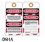NMC Danger Equipment Lock Out English & Spanish Lockout Tag - 25 pk.