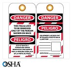 NMC Danger This Tag & Lock to Be Removed Only By… English & Spanish Lockout Tag - 10 pk.