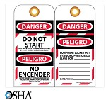 NMC Danger Do Not Start English & Spanish Lockout Tag - 10 pk.