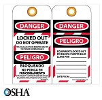 NMC Danger Locked Out Do Not Operate English & Spanish Lockout Tag - 10 pk.