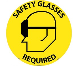"NMC 17"" Safety Glasses Required Walk-On Floor Sign"