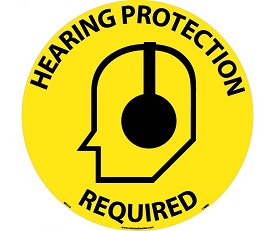 "NMC 17"" Hearing Protection Required Walk-On Floor Sign"