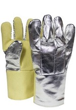NSA Aluminized OPF/Para-Aramid Back-15 oz. Reversed Knitted Wool/Cotton Liner-Large Glove