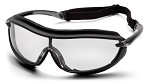 Pyramex XS3 Plus Clear H2X Anti-Fog Lens Black Padded Frame Safety Glasses - 12 pk.