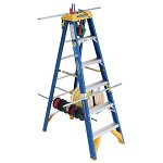 Werner 6 ft Fiberglass Old Blue Electrician's Single Sided Stepladder OBEL00 Series