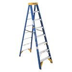 Werner 8 ft Fiberglass Old Blue Electrician's Single Sided Stepladder OBEL00 Series