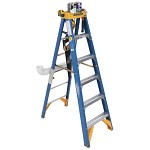Werner 6 ft Fiberglass Old Blue Pipe Trade Jobstation Single Sided Stepladder OBPT00 Series