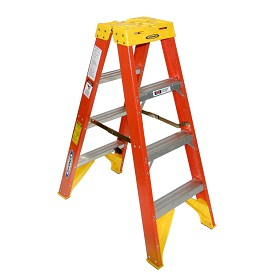 Werner 4 ft Fiberglass Double Sided Stepladder T6200 Series