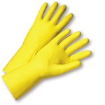 West Chester 2312 Coated Yellow Latex Gloves with Beaded Cuff Size 9 - 12 pr.