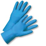 West Chester 33313 Unsupported Blue Latex Gloves Size 9 - 12 pr.