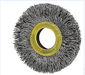 "Osborn 1-1/2"" x 3/8"" x .006"" Small Diameter Stainless Steel Crimped Wire Wheel Brush - 12 pk."
