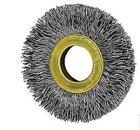 "Osborn 1-1/2"" x 3/8"" x .005"" Small Diameter Stainless Steel Crimped Wire Wheel Brush - 12 pk."