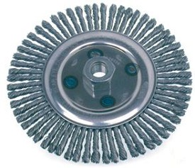 "Osborn 6-1/2"" x 5/8-11NC x .020"" Stainless Steel Stringer Bead Knot Wire Wheel Brush - 12 pk."