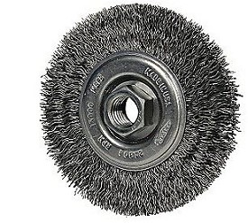 "Osborn 4"" x 5/8-11NC x .014"" Stainless Steel Crimped High Speed Small Grinder Wire Wheel Brush"