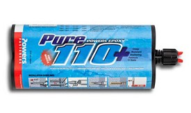 Powers Fasteners 9 fl. oz. Pure 110+ Quick-Shot Cartridge 1:1 Mix Ratio Formula Adhesive Anchor - 12 pk